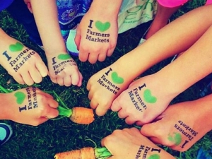 "Kids hands stamped with ""I Love Farmers Markets"" submitted by S.Avery"