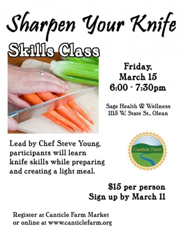 Poster for Canticle Farm's knife skills class