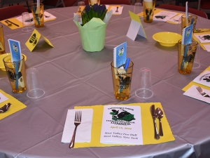 Close up of awesome color coordination and table set up, 2016 Farmer Neighbor Dinner