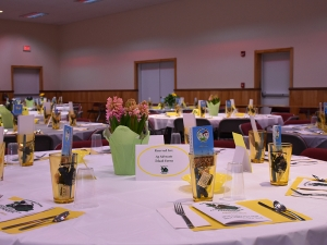 Awesome color coordination and table set up, 2016 Farmer Neighbor Dinner