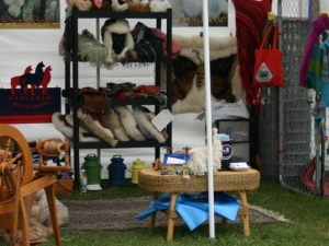 Spinning alpaca fiber at alpaca booth at 2010 Cattaraugus County Fair