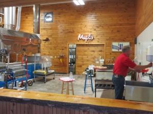 Randy Sprague prepping goodies for a tour of Sprague's Maple Farms