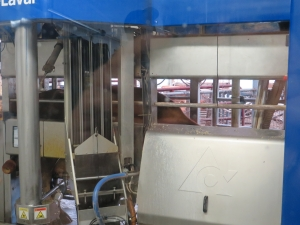 Automated milking machine at Snow Brook Farms in Great Valley, NY