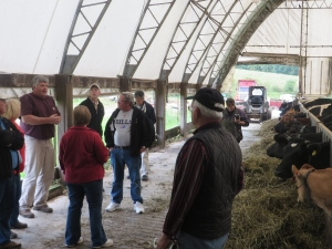Dan Brown talking to group about Snow Brook Farms in Great Valley, NY
