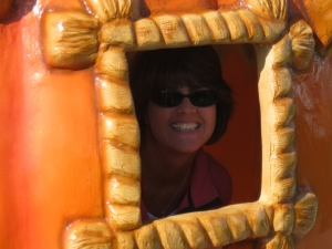Sue Labuhn in a magical pumpkin at Pumpkinville