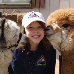 Girl getting kissed on the cheeks by 2 alpacas at Mager Mountain Alpacas